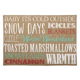Burlap Typography Winter Wonderland Placemat Cloth Placemat