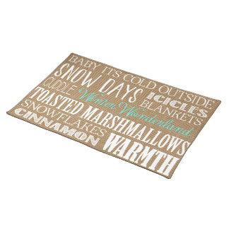 Burlap Typography Winter Wonderland Placemat Cloth Place Mat