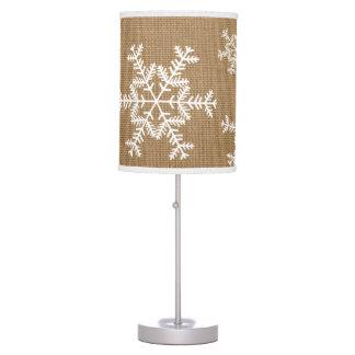 Burlap Typography Winter Wonderland Snowflake Lamp