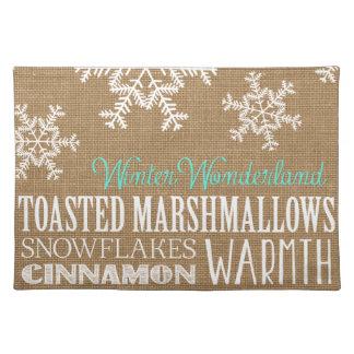 Burlap Typography Winter Wonderland Snowflake Cloth Place Mat