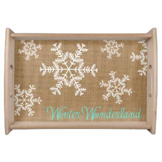 Burlap Typography Winter Wonderland Snowflake Tray Food Trays