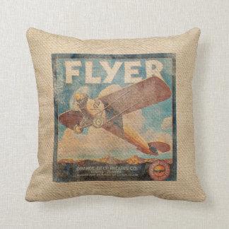 Burlap Vintage Airplane Pillow