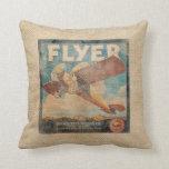 Burlap Vintage Airplane Throw Pillow