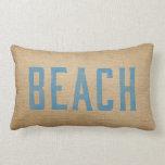 Burlap Vintage Beach Live Love Surf Blue Pillows