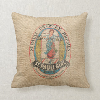 Burlap Vintage Brewery Beer Advertisement Throw Pillow