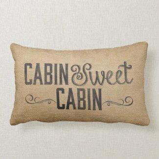 Burlap Vintage Cabin Sweet Cabin Pillow
