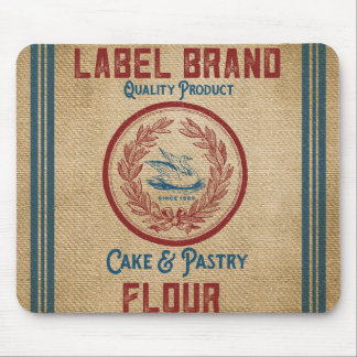 Burlap Vintage Cake Pastry Flour Sack Mouse Pad