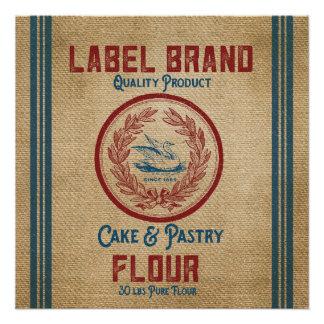 Burlap Vintage Cake Pastry Flour Sack Poster