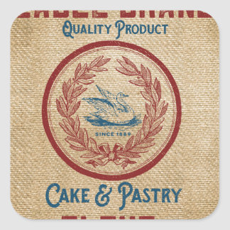 Burlap Vintage Cake Pastry Flour Sack Square Sticker