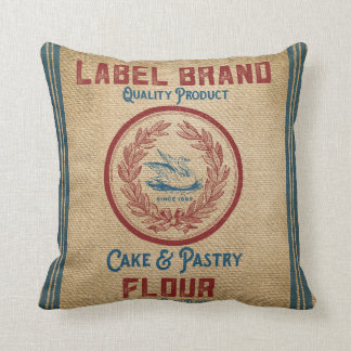Burlap Vintage Cake Pastry Flour Sack Throw Pillow
