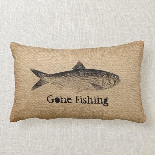 Burlap vintage fish gone fishing throw pillow zazzle for Fish throw pillows