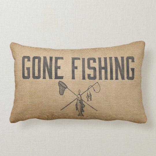 Burlap Vintage Gone Fishing Lumbar Pillow