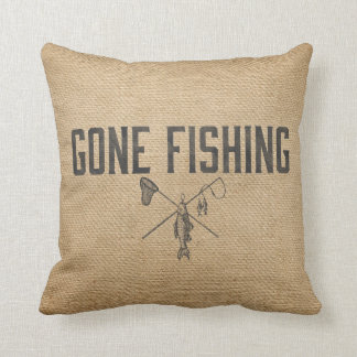 Burlap Vintage Gone Fishing Throw Pillow