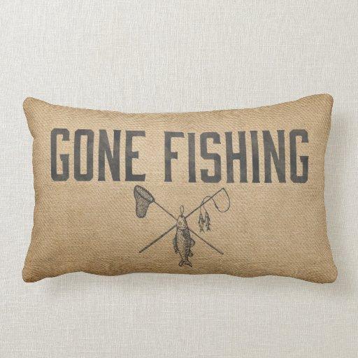 Burlap Vintage Gone Fishing Throw Pillow