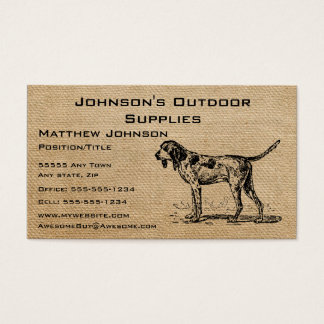 Burlap Vintage Hunting Dog Business Card