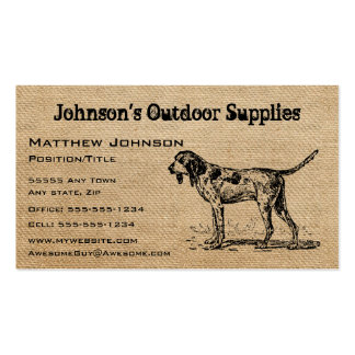 Burlap Vintage Hunting Dog Font Double-Sided Standard Business Cards (Pack Of 100)