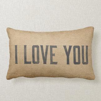 Burlap Vintage I Love You Pillow