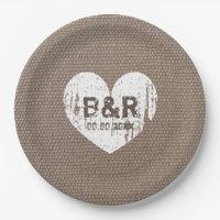 Burlap vintage monogram bbq wedding paper plates