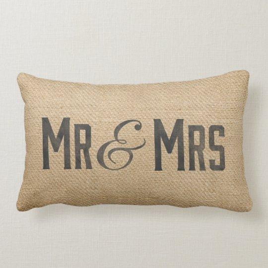 Burlap Vintage Mr & Mrs Wedding Date Lumbar Pillow