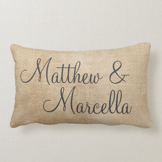 Burlap Vintage Personalize Wedding Names Date Lumbar Pillow