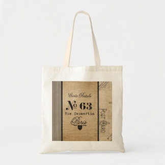 Burlap Vintage Postage French Country Tote Bag