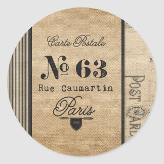 Burlap Vintage Postage French Country Classic Round Sticker