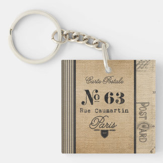 Burlap Vintage Postage French Country Double-Sided Square Acrylic Keychain