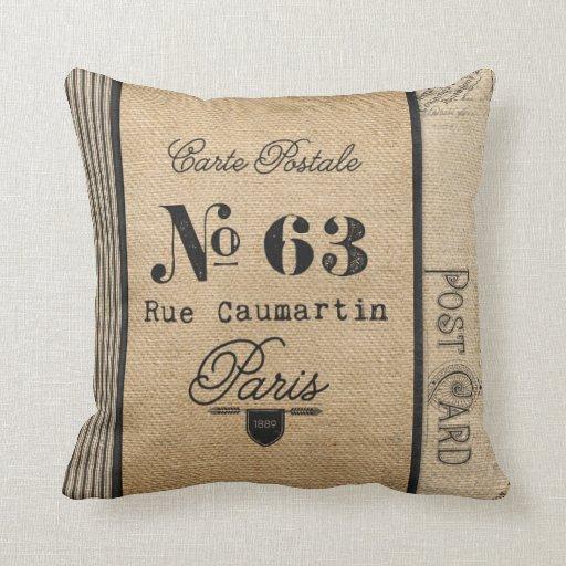 Burlap Vintage Postage French Country Throw Pillow Zazzle