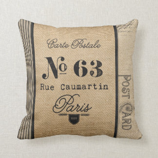 Burlap Vintage Postage French Country Throw Pillow