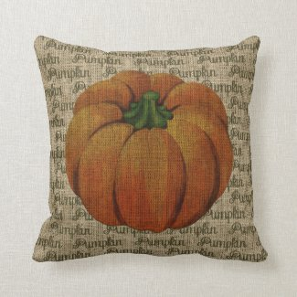 Burlap Vintage Pumpkin with Pumpkin Text Cushion
