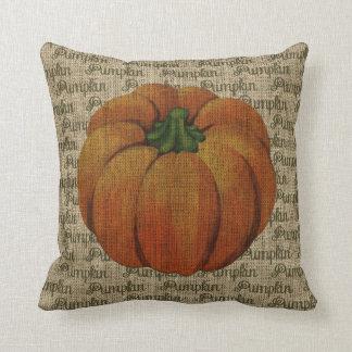 Burlap Vintage Pumpkin with Pumpkin Text Cushion Throw Pillow