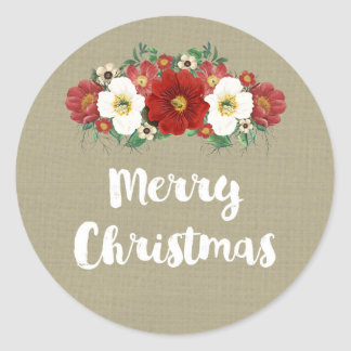 Burlap Vintage Red Floral Merry Christmas Classic Round Sticker