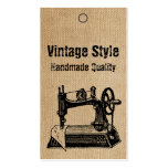 Burlap Vintage Style Sewing Machine Tags Business Cards