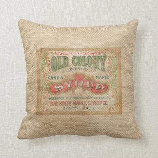 Burlap Vintage Syrup Advertisement Pillow