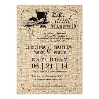 Burlap Vintage Top Hat Wedding Invitations