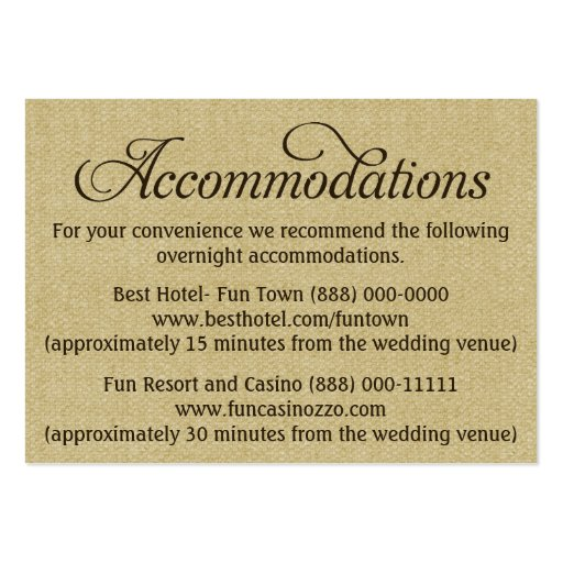 burlap wedding accommodation reception cards large business cards pack of 100 zazzle. Black Bedroom Furniture Sets. Home Design Ideas