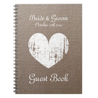 Burlap wedding guest book with rustic heart design
