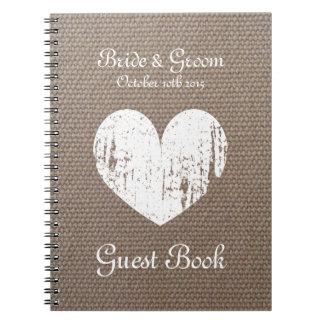 Burlap wedding guest book with rustic heart design
