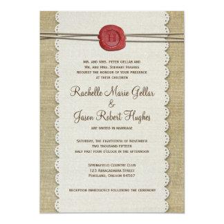 "Burlap Wedding Invitation 5"" X 7"" Invitation Card"
