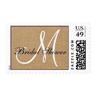 Burlap Wedding Monogram Bridal Shower Stamp