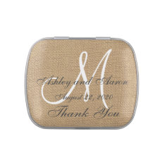 Burlap Wedding Monogram Names Date Jelly Belly Tin at Zazzle