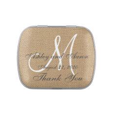 Burlap Wedding Monogram Names Date Jelly Belly Tin at Zazzle