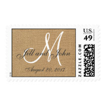 Burlap Wedding Monogram Names Date Postage