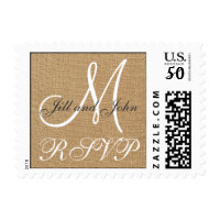 Burlap Wedding Monogram Names RSVP Postage
