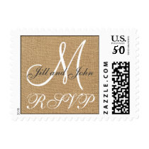 Burlap Wedding Monogram Names RSVP Postage