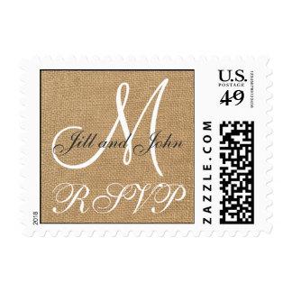 Burlap Wedding Monogram Names RSVP Postage Stamps