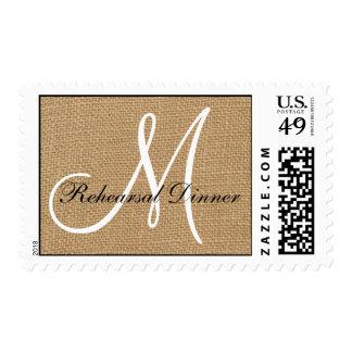 Burlap Wedding Monogram Rehearsal Dinner Stamp