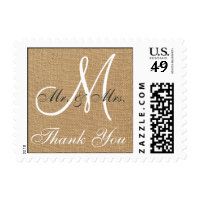 Burlap Wedding Monogram Thank You Postage