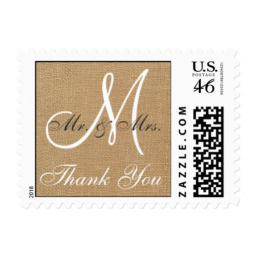 Burlap Wedding Monogram Thank You Postage Stamps