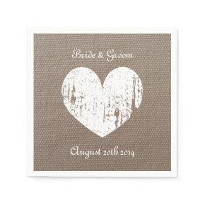 Burlap wedding napkins with rustic heart standard cocktail napkin